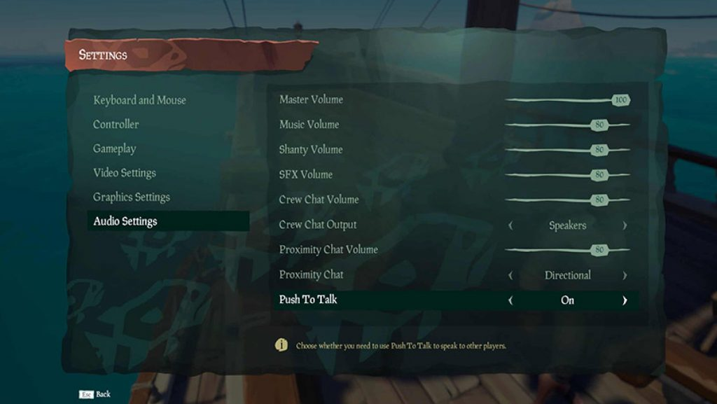 sea of thieves sound settings
