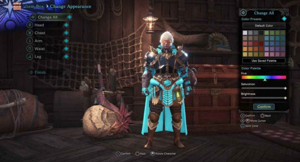 how to change armor color mhw